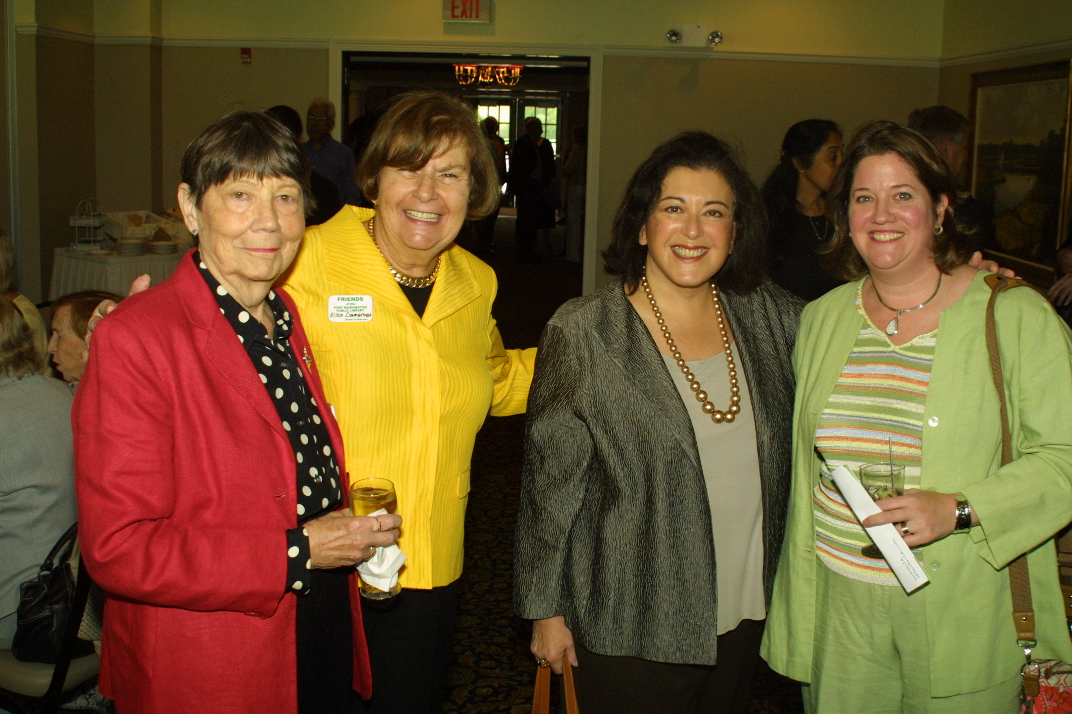 FOL Vice Presidents Nancy Wright and Ellen Zimmerman with best-selling novelist and luncheon moderator Susan Isaacs, and Leslie Abramowitz
