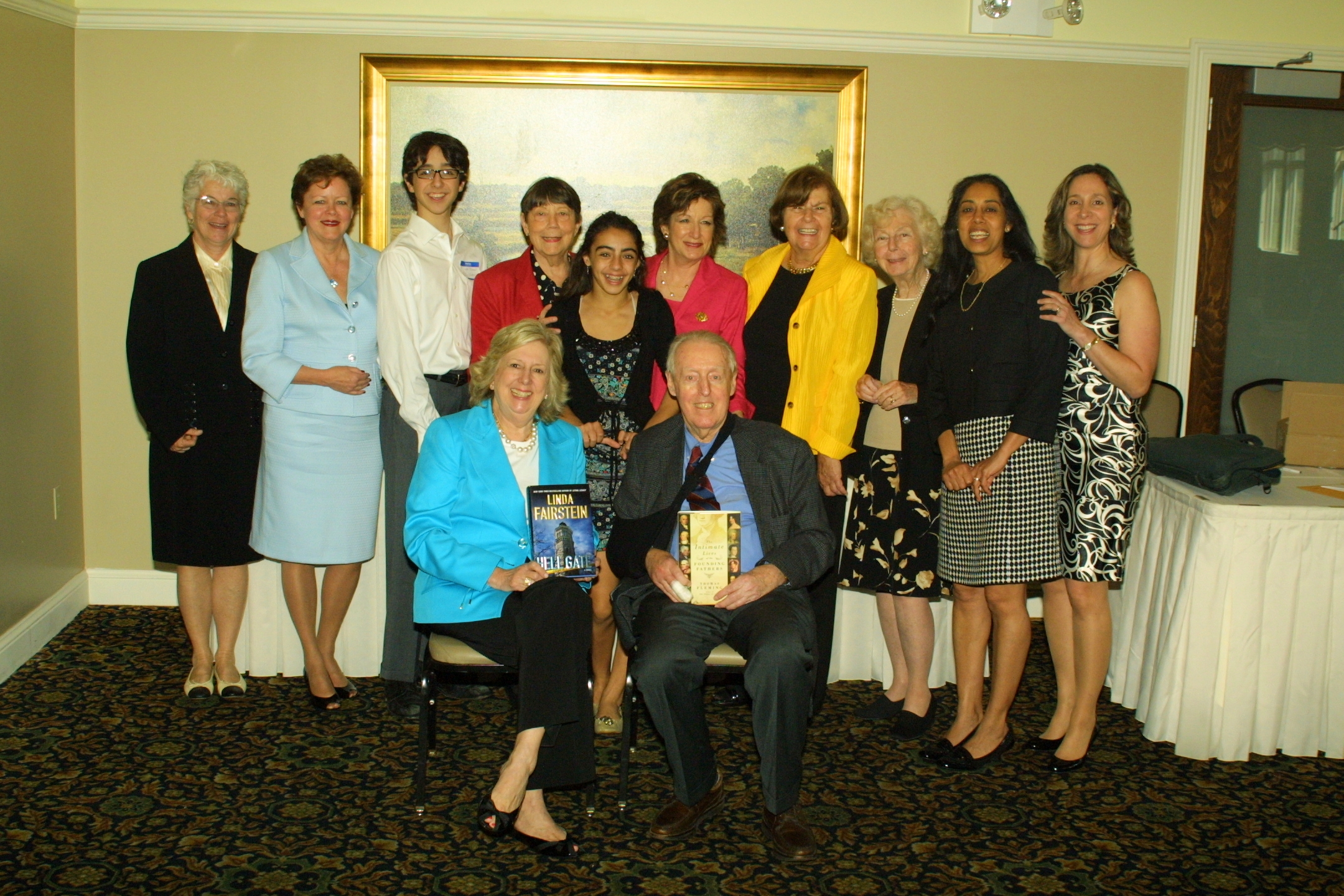 The Friends of the Library Board with Authors Linda Fairstein and Thomas Fleming (seated) L to R: Margaret Desiervo, Library Director Nancy Curtin, teen volunteer Luke O'Connell, FOL Vice President Nancy Wright, teen volunteer Annelise Meyding, FOL President Amy G. Bass, Vice President Ellen Zimmerman, Secretary Eleanor Rybecky, Treasurer Tinu Thakore, Pamela O'Connell