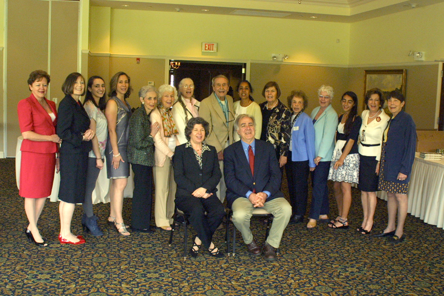 Nancy Curtin, The FOL Board and volunteers, and authors Wolitzer and Eire (seated)