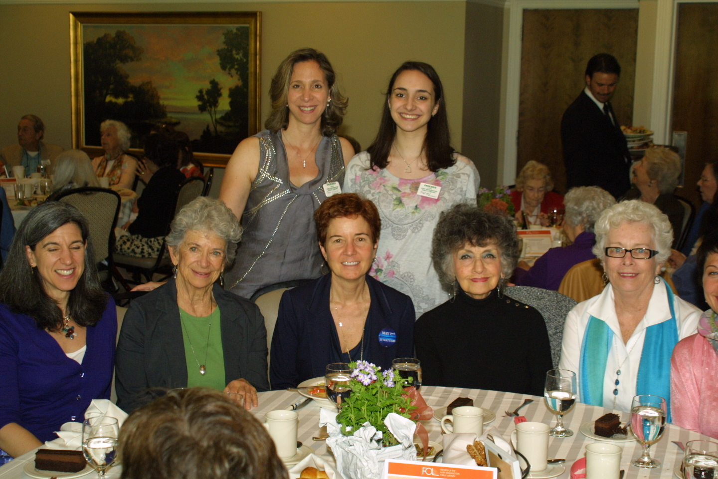 A table of mothers and daughters enjoyed the luncheon and literary event