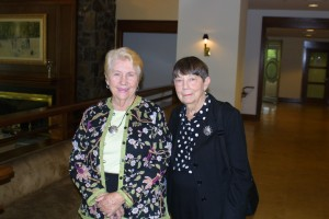 Joan Prior of the PW Garden Club, which provided lovely centerpieces, with FOL vice president Nancy Wright