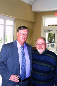 Library Board President Lee Aitken with Michael Pollack of the Library Foundation