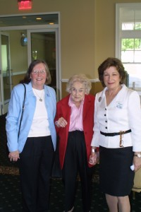 Doris and Wilda Whittemore with Amy Bass. The luncheon was renamed in honor of Richard Whittemore, longtime FOL president,  in 2000.
