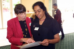 FOL vice president Nancy Wright and treasurer Tinu Thakore hard at work at the event