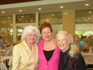 Joan Nahas, a Silver Sponsor of the luncheon, library director Nancy Curtin, and FOL board member Beverly Halm