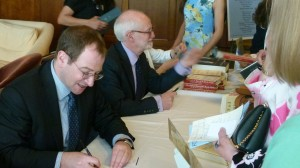 Authors Will Schwalbe and David Nasaw signing their books