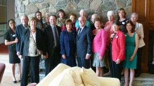 The FOL Board of Directors with authors and library director Nancy Curtin