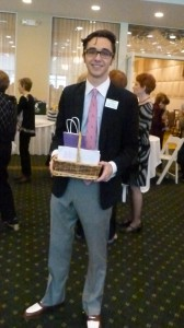 Student volunteer and raffle seller Luke O'Connell